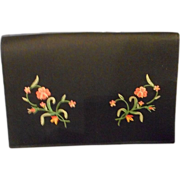 Black Satin Embroidered Clutch, 1950's