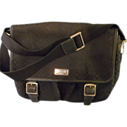 Black Coach Bag, Messenger Style in Logo Fabric