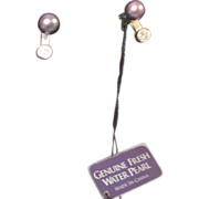 Sterling Freshwater Pearl Earrings with CZ drop