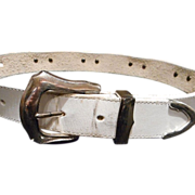 Wonderful White Leather Brighton Western Style Belt