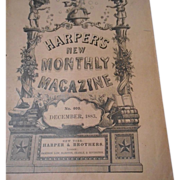 SOLD Harper's Bazaar Magazine, Dec, 1883 Beautiful Lithographs with Uncut pages - Red Tag Sale