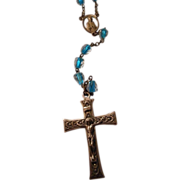 Vintage Rosary with  Turquoise Colored Glass Beads Encased in Crystal