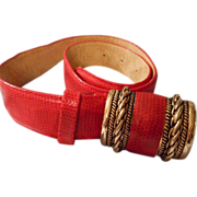 Red Leather Belt by Milor size Sm