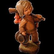 Wonderful Vintage Carved Anri Boy Hunter, by Ferrandiz, Numbered