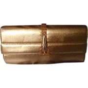 Great Vintage 8.5 Inch Gold Leather Clutch by Rodo Italy