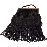Antique Black Jet Beaded Purse with Long Fringe and Tassel
