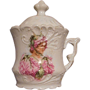 Miniature Child's Covered Sugar with Victorian Woman and Flowers.