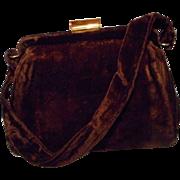 Vintage Brown Velvet Handbag by Garay