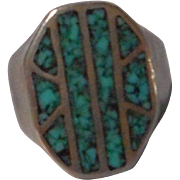 Inlaid Turquoise and Sterling Ring size 8