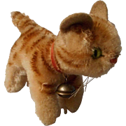"""Vintage Steiff Cat """"Tapsy"""" with Ribbon and Bell"""