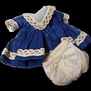 "SALE Vintage Navy Blue 8"" Doll dress and Panties"