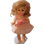 Vintage 8 inch  Doll in Pink Organdy Dress by Virga