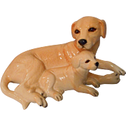Royal Doulton 7 inch Yellow Lab and Pup Figurine