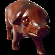 Vintage Detailed Cast Metal Pig