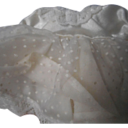 White Satin and Dotted Sheer Fabric 8 Inch Doll Outfit.