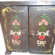 SALE Hand painted Vintage German Miniature Wedding Cabinet