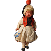 Vintage Celluloid Black Forest German Doll, Turtle Mark, All Original