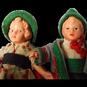 Wonderful Set of Bisque Doll House Dolls in Original German Costume
