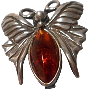 Sterling Butterfly Brooch with Amber Body