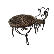 SALE Exquisite Victorian Filigree, Metal, Doll House Table and Chair
