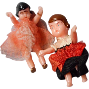 Miniature 1.5 Inch German Doll House Dolls, Original Outfits