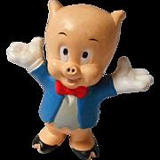 1988 Vintage Porky Pig Hard Rubber Figure