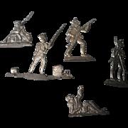 Vintage German Soft Metal Figurines, Set of 5 Military