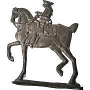 Vintage German Soft Metal Figurine, Military Horse and Rider
