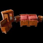 SALE German, Vintage All Wooden Doll House Bedroom Set