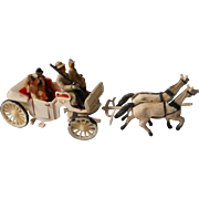 Miniature Finely Detailed German Horse and Carriage Set