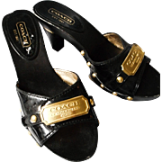 Coach Black Patent Open Toed Heels, 6M