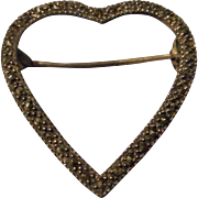 Vintage Sterling and Marcasite Open Heart Brooch