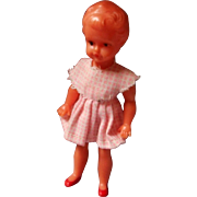 Jointed German Doll House Doll in Pink Gingham