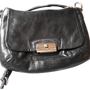 Classic Coach Black Leather Evening or Shoulder Bag