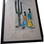 Vintage De Grazia Print with Side Drawings signed