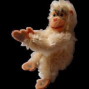Vintage Steiff White Mohair Monkey with Button