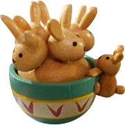 Unique Wooden Hand Painted Bunnies in Wooden Bowl