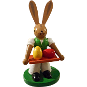 All Wood Hand Painted Bunny with Easter Eggs on Tray