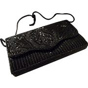Vintage Black Beaded Evening Bag