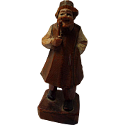 Hand Carved Wooden Figurine, Man with Pipe, Anri