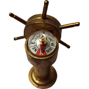 Vintage Brass Miniature Ships Wheel and Compass
