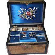 Inlaid Sewing Box and Tools, Burl, Rosewood, Tunbridge, Embroidered Silk, Antique 19th Century
