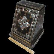 SALE Black Lacquer Boite à Courrier/Letter DESK box; RaRe Antique c1880,SILVER extras ...