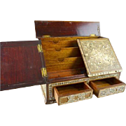 Mother-of-pearl inlaid wooden STATIONARY BOX; c1900, 2 pop out drawers.