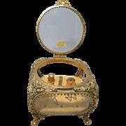 SALE Large 24KT Gold Plated  Casket Box, HAND Beveled Crystal Glass Ormolu & Five 14KT SOLID .