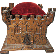 Wooden and Hand Carved TREEN Castle shaped square PIN CUSHIONED top box , working lock, key ..