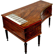 PALAIS ROYAL ETUI 15pc PIANO shaped MUSIC BOX; Antique c1820's,Original key MOP with ...