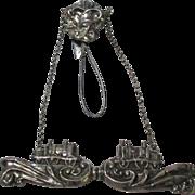 SALE SILVER TRAIN CHATELAINE broach NEEDLE CASE; Original Antique c1800