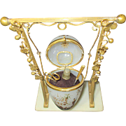Palais Royal Sewing ETUI Opaline Hanging Glass & Gilt EGG; FRENCH Antique c1800