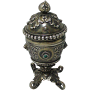 Silver URN with Precious Gems, ETUI; Antique Austro-Hungarian early c1800's,Original Silk Line